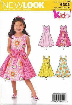 New Look Sewing Pattern 6202 Girls Sz 3-8 Flared Dresses With Contrast Fabric