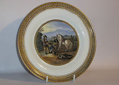Antique / Victorian Prattware  Plate ( Preparing to Ride )