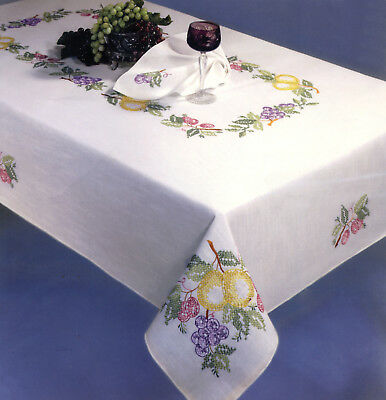 """Stamped Embroidery - Tobin Fruit Festival 50"""" x 70"""" Tablecloth #T202739-70 SALE!"""