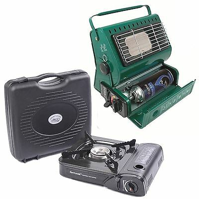 2pc Camping Set - Portable Gas Stove Cooker And 1.3kw Heater Fishing Outdoor New