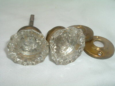 Antique Vintage Crystal Glass 12 Point Door Knob Set w Brass Collars