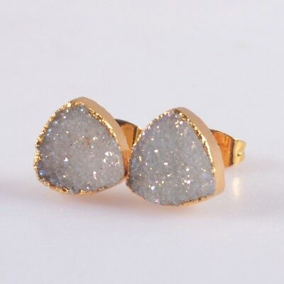 10mm Square Natural Agate Druzy Titanium AB Stud Earrings Gold Plated B047967