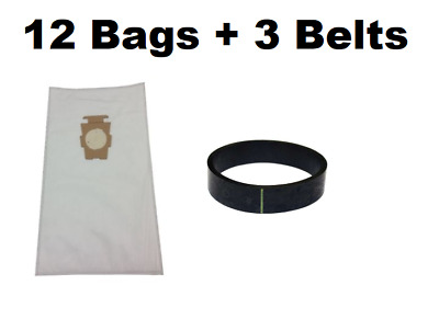 (12) F Style Cloth Hepa Vacuum Bags for Kirby Sentria I & II G10D + (3) Belts
