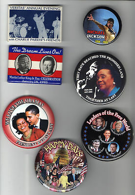 7 old AFRICAN AMERICAN pins political celebrity pins