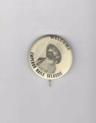 1940s pin WWII HOMEFRONT pinback Welcome Emperor HAILE SELASSIE of ETHIOPIA