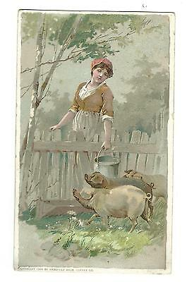 1889 Trade Card Arbuckle Brothers Coffee New York Cooking Notes PIGS