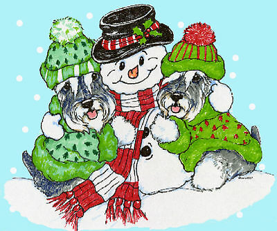 Schnauzer snowman note cards add a short message inside Free