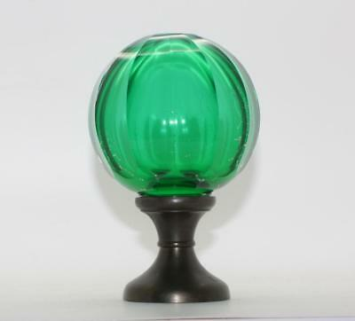 French Baccarat? Staircase Newel Post Green Glass/crystal Finial Cap