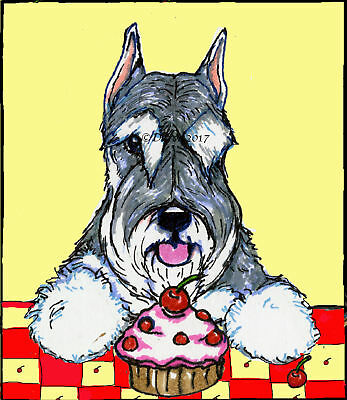 Schnauzer cupcake  note cards add a short message inside Free