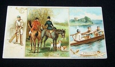 1893 Trade Card-#2 Arbuckle Coffee-England-Cricket-Fox Hunting-Oarsmen-Sculling