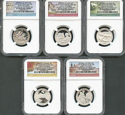 2017 S Silver Quarter Set From 10-Coin Silver Set E.R. NGC PF70 Ultra Cameo
