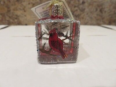 Cardinal and Chickadee   Old World Christmas glass ornament Inside Art