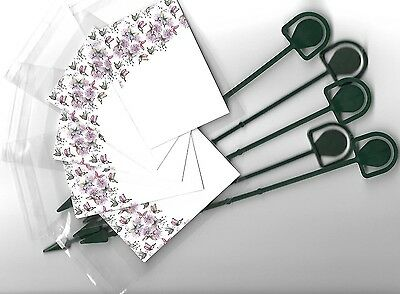 5 Pack Florist Butterfly Blank Message Cards & Cardettes (Picks) & Cello Bags