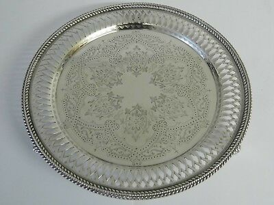 ABSOLUTELY STUNNING ANTIQUE VICTORIAN SOLID STERLING SILVER TRAY - 1863 - 382g