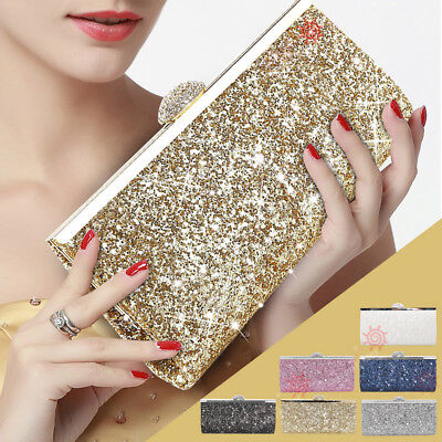 Luxury Ladies Sparkly Clutch Bag Evening Prom Wedding Handbag Shoulder Bag Purse