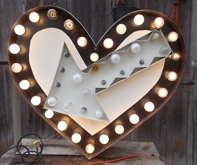 Vintage Lighted Heart Sign Flashing Love