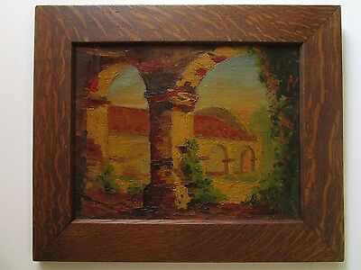 Antique Early California Painting Mission With Arts And Crafts Frame Signed Old