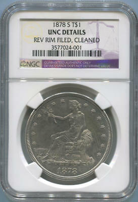 1878 S Trade Silver Dollar, T$1. NGC Unc Details