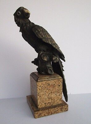 Unique Parrot Statue Bronze Metal Sculpture Glass Eye Vintage-Antique Detailed