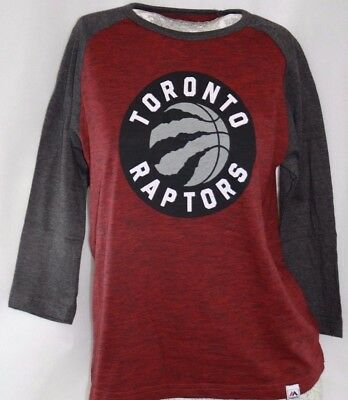 NEW Youth Boys Kids MAJESTIC Toronto Raptors 3/4 Raglan Sleeve NBA Logo Shirt