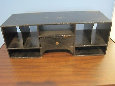 Vintage Wood Desk Top Secretary Organizer with 9 Compartments + a drawer 1900-50
