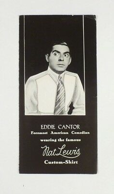 EDDIE CANTOR for Nat Lewis Shirt Brochure c 1930's Actual Fabric Sample