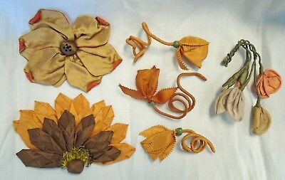 Lot Of 6 Antique Ribbon & Silk Millinery Flowers - Fall Colors