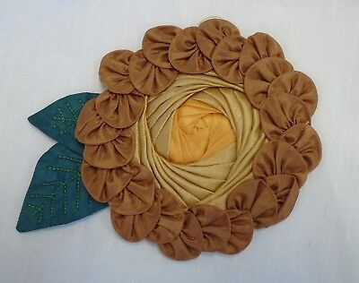 Antique Millinery Silk Flower With Leaves - Cabochon Center