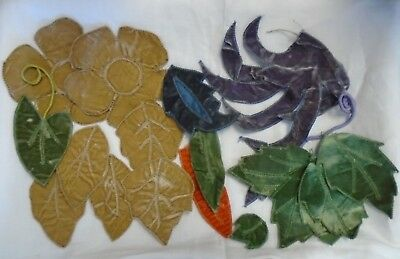 Large Lot Of 19 Pieces - Antique Silk /velvet Leaves - Hand Made - Millinery