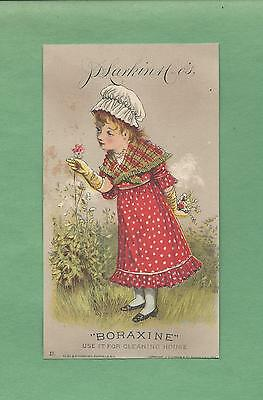 Adorable GIRL Picks FLOWERS On BORAXINE SOAP 1882 Victorian Trade Card