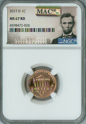 2017-D Lincoln Cent Shield Ngc Mac Ms67 Red Pq Finest Registry Spotless *
