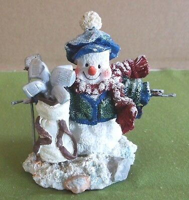 Resin Snowman with Golf Clubs Figurine New in Box Christmas
