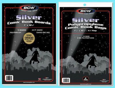 10 BCW SILVER COMIC BOOK BAGS & BACKING BOARDS Clear Plastic Archival Acid Free