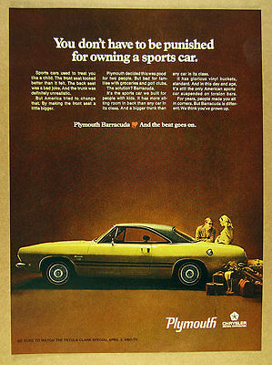 1968 Plymouth Barracuda yellow & black car photo vintage print Ad