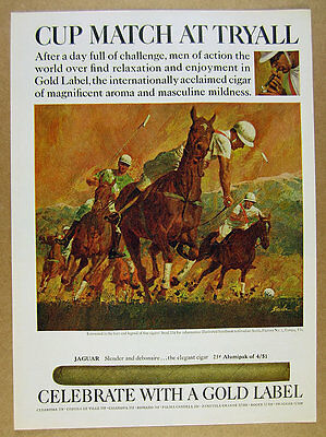 1968 polo match horses players art Gold Label Cigars vintage print Ad