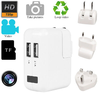 HD 720P WIFI Wirless USB Wall Charger Spy Hidden Camera DVR Phone Adapter Plug