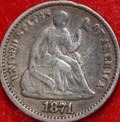1871 Philadelphia Mint Silver Seated Liberty Half Dime Free S/H
