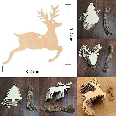 10pcs Wooden Craft XMAS Ornament Christmas Tree Hanging Decorations Hot Sale
