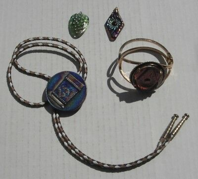 Carnival glass Jewelry...4 pieces--H