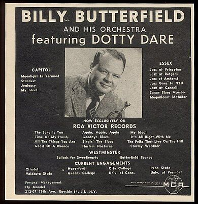 1957 Billy Butterfield photo music concert tour booking ad