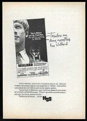 1971 Willard rat movie release vintage trade print ad