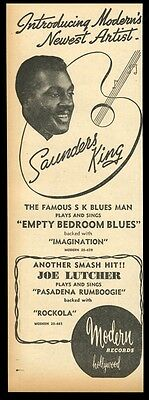 1949 Saunders King photo Modern Records vintage trade print ad