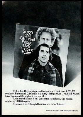 1971 Simon and Garfunkel photo Bridge Over Troubled Water trade print ad