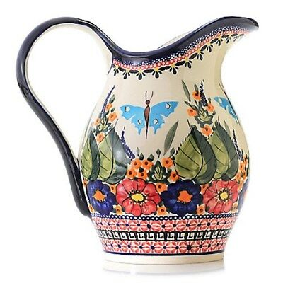 Polish Stoneware 64oz Hand-Painted Pitcher Butterfly