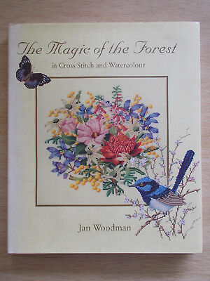 The Magic of the Forest in Cross Stitch & Watercolour~Jan Woodman~140pp HBWC