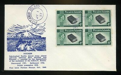 1957 Pitcairn Island Cover 4d block of 4  - illustrated