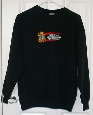 CMA Sweat Shirt Christian Motorcyclist Association Small Long Sleeve Embroidered