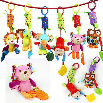 Animals Baby Rattle Toys Hanging Rattle Bed Car Crib Stuffed Plush Animal Doll