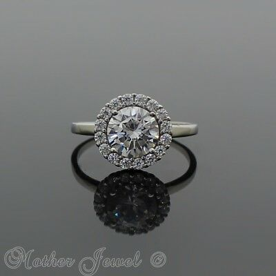 Solid 925 Sterling Silver Round Halo Simulated Diamond Engagement Solitaire Ring