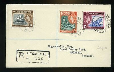 1957 Pitcairn Island - 3 Covers registered cachet to Grimsby England